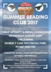 Summer Reading Club 2017 Wrap Up Party! @ Moberly Lake Provincial Park Picnic Shelter