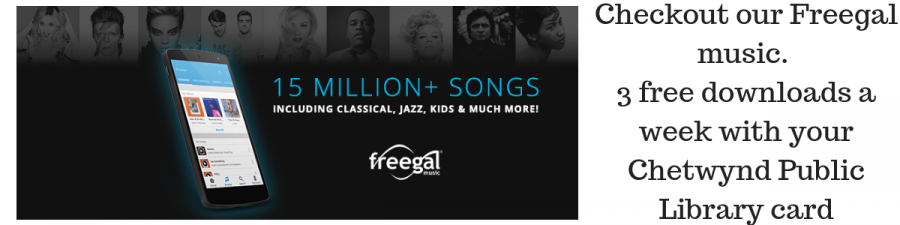 Checkout our Freegal music. 5 free downloads a week with your Chetwynd Public Library card